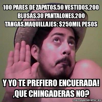 Meme Personalizado 100 pares de zapATOS 50 VESTIDOS 200