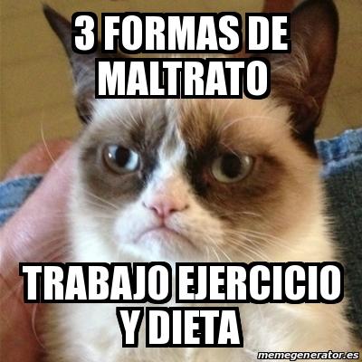 Meme Grumpy Cat 3 Formas De Maltrato Trabajo Ejercicio Y Dieta