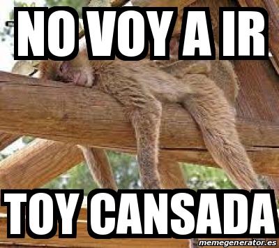 Meme Personalizado No Voy A Ir Toy Cansada 14407293