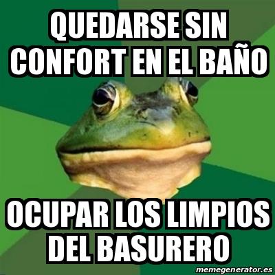 Meme foul bachelor frog quedarse sin confort en el ba o - Confort del bano ...
