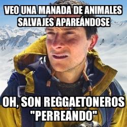 Meme bear grylls veo una manada de animales salvajes apare ndose oh son reggaetoneros - Animales salvajes apareandose ...