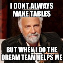 Meme Most interesting man - i dont always make tables but ...