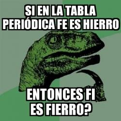 Meme filosoraptor si en la tabla peridica fe es hierro entonces meme filosoraptor si en la tabla peridica fe es hierro entonces fi es fierro 20076025 urtaz Gallery
